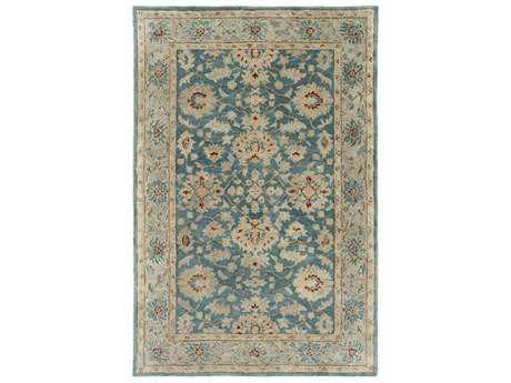 Surya Ruchika Rectangular Sky Blue, Rust & Medium Gray Area Rug