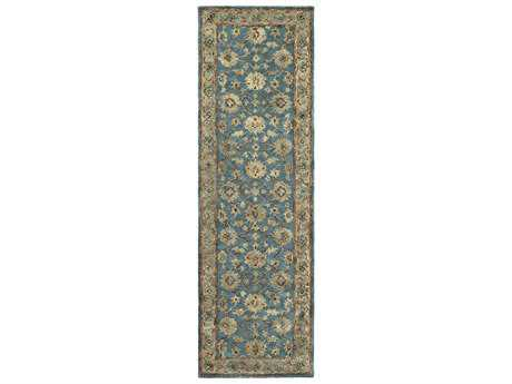 Surya Ruchika 2'6'' x 8' Rectangular Sky Blue, Rust & Medium Gray Runner Rug