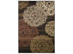 Surya Riley Rectangular Dark Brown, Dark Red & Camel Area Rug