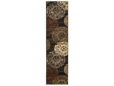 Surya Riley 2' x 7'5'' Rectangular Dark Brown, Dark Red & Camel Runner Rug