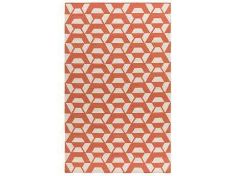 Surya Rivington Rectangular Bright Orange & Cream Area Rug