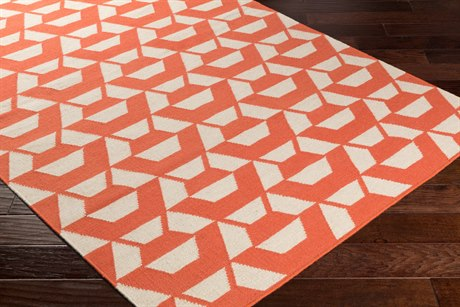Surya Rivington Rectangular Bright Orange & Cream Area Rug