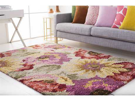 Surya Spring Bloom Rectangular Rust, Coral & Burgundy Area Rug