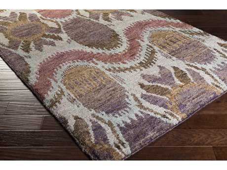 Surya Scarborough Rectangular Eggplant, Violet & Light Gray Area Rug