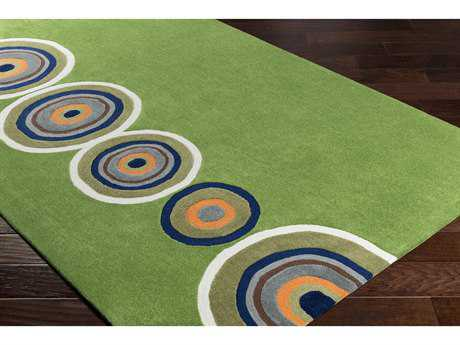 Surya Skidaddle Rectangular Grass Green, Bright Orange & Navy Area Rug