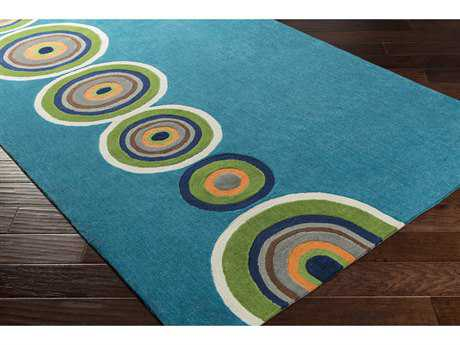 Surya Skidaddle Rectangular Bright Blue, Grass Green & Bright Orange Area Rug