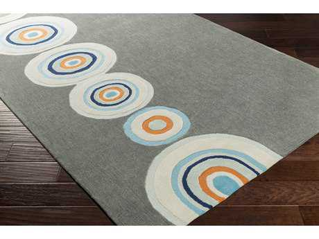 Surya Skidaddle Rectangular Charcoal, Sky Blue & Bright Orange Area Rug