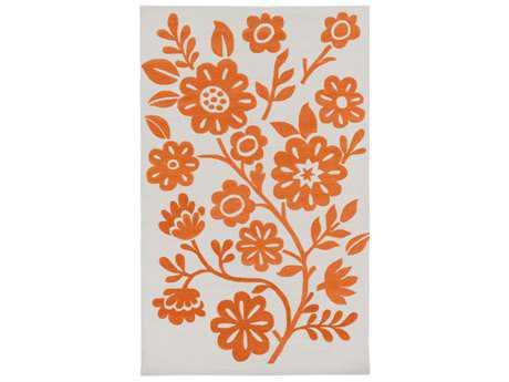 Surya Skidaddle Rectangular Bright Orange & Ivory Area Rug
