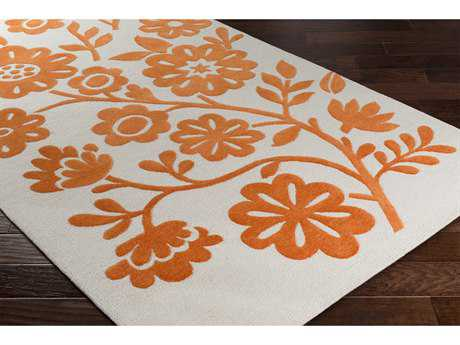 Surya Skidaddle Rectangular Bright Orange & Ivory Area Rug