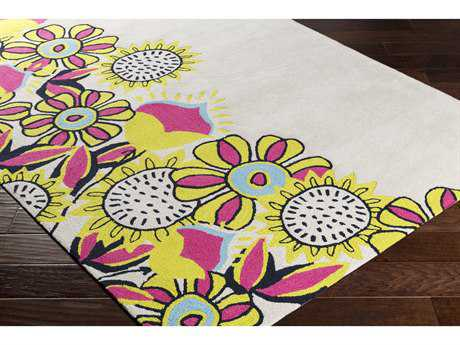 Surya Skidaddle Rectangular Khaki, Lime & Bright Pink Area Rug