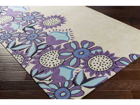 Surya Skidaddle Rectangular Khaki, Bright Purple & Navy Area Rug