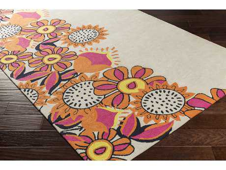 Surya Skidaddle Rectangular Khaki, Bright Orange & Bright Pink Area Rug