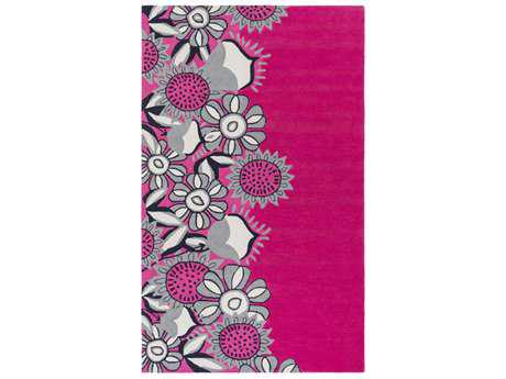 Surya Skidaddle Rectangular Bright Pink, Light Gray & Navy Area Rug