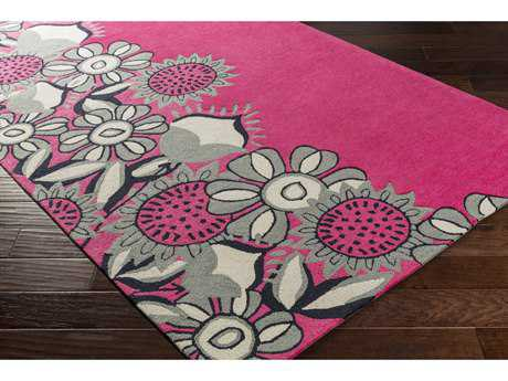 Surya Skidaddle Rectangular Bright Pink, Light Gray & Navy Area Rug