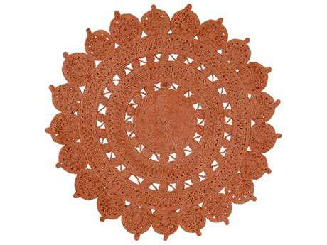 Surya Sundaze Round Burnt Orange Area Rug