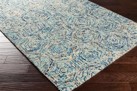 Surya Shiloh Rectangular Dark Blue, Sky Blue & Cream Area Rug