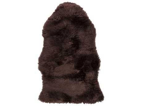 Surya Sheepskin Rectangular Chocolate Area Rug