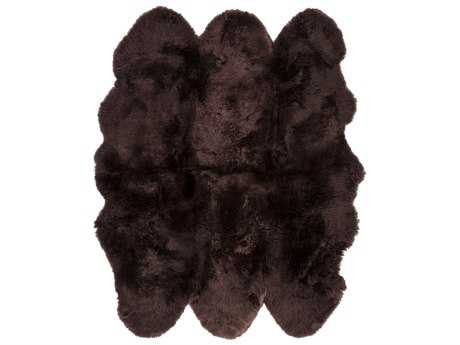 Surya Sheepskin 6' Square Chocolate Area Rug