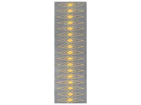 Surya Solid Bold 2'6'' x 8' Rectangular Medium Gray & Saffron Runner Rug