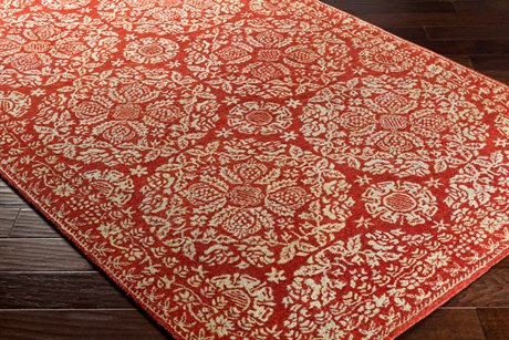 Surya Smithsonian Rectangular Dark Red & Cream Area Rug