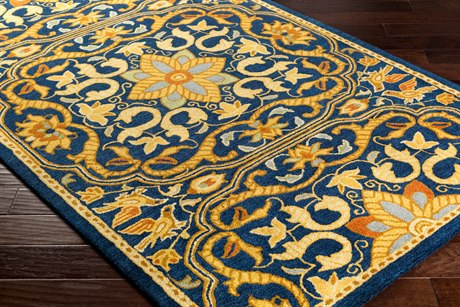 Surya Smithsonian Rectangular Navy, Black & Burnt Orange Area Rug