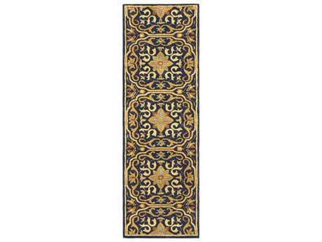 Surya Smithsonian 2'6'' x 8' Rectangular Navy, Black & Burnt Orange Runner Rug