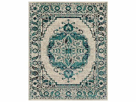 Surya Stretto Rectangular Medium Gray, Teal & Violet Area Rug