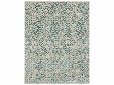 Surya Stretto Rectangular Medium Gray, Teal & Cream Area Rug