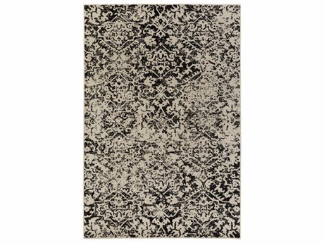 Surya Stretto Rectangular Light Gray & Black Area Rug