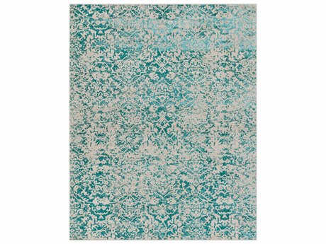 Surya Stretto Rectangular Light Gray & Teal Area Rug