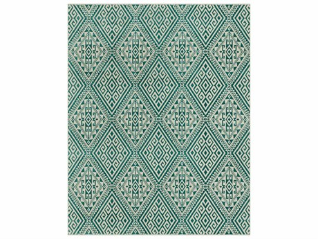 Surya Stretto Rectangular Teal & Cream Area Rug