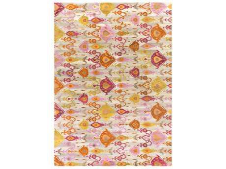 Surya Surroundings Rectangular Burnt Orange, Bright Pink & Camel Area Rug