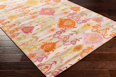 Surya Surroundings Rectangular Burnt Orange, Bright Pink & Camel Area Rug