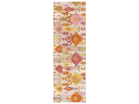 Surya Surroundings 2'6'' x 8' Rectangular Burnt Orange, Bright Pink & Camel Runner Rug