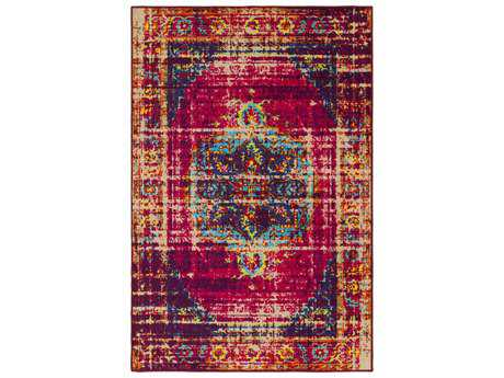 Surya Sonya Rectangular Bright Pink, Dark Purple & Beige Area Rug