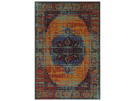 Surya Sonya Rectangular Aqua, Burnt Orange & Dark Red Area Rug