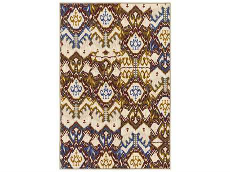 Surya Sonya Rectangular Khaki, Beige & Dark Red Area Rug