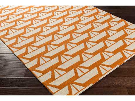 Surya Tic Tac Toe Rectangular Burnt Orange, Beige & Bright Orange Area Rug