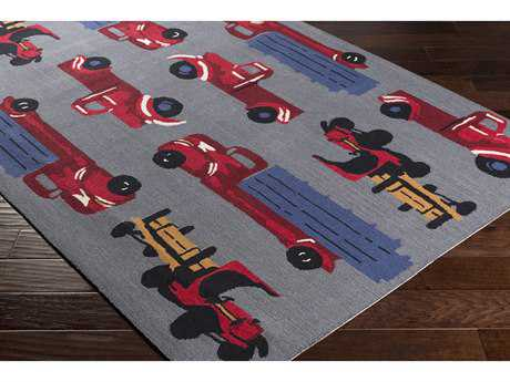 Surya Tic Tac Toe Rectangular Medium Gray, Dark Red & Dark Blue Area Rug