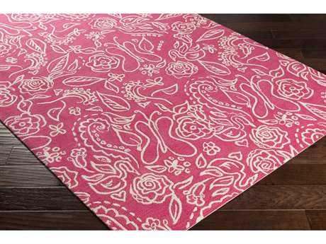 Surya Tic Tac Toe Rectangular Bright Pink & White Area Rug
