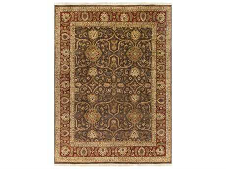 Surya Timeless Rectangular Camel, Dark Brown & Aqua Area Rug