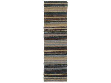 Surya Trinidad 2'6'' x 8' Rectangular Medium Gray, Charcoal & Dark Brown Runner Rug