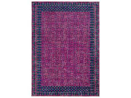 Surya Tessera Rectangular Bright Pink, Navy & Grey Area Rug