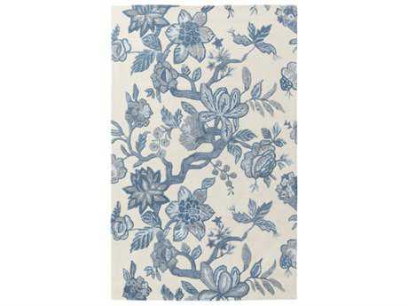 Surya Verdant Rectangular Cream, Bright Blue & Denim Area Rug