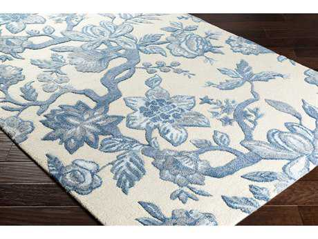 Surya Verdant Rectangular Cream, Bright Blue & Denim Area Rug