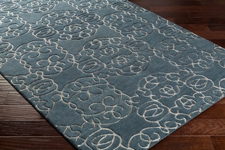 Surya Vernier Rectangular Dark Green & Light Gray Area Rug
