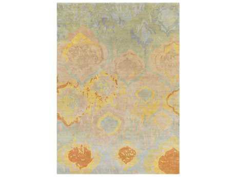 Surya Watercolor Rectangular Pale Blue, Light Gray & Butter Area Rug