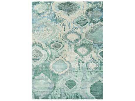 Surya Watercolor Rectangular Teal, Mint & Dark Green Area Rug
