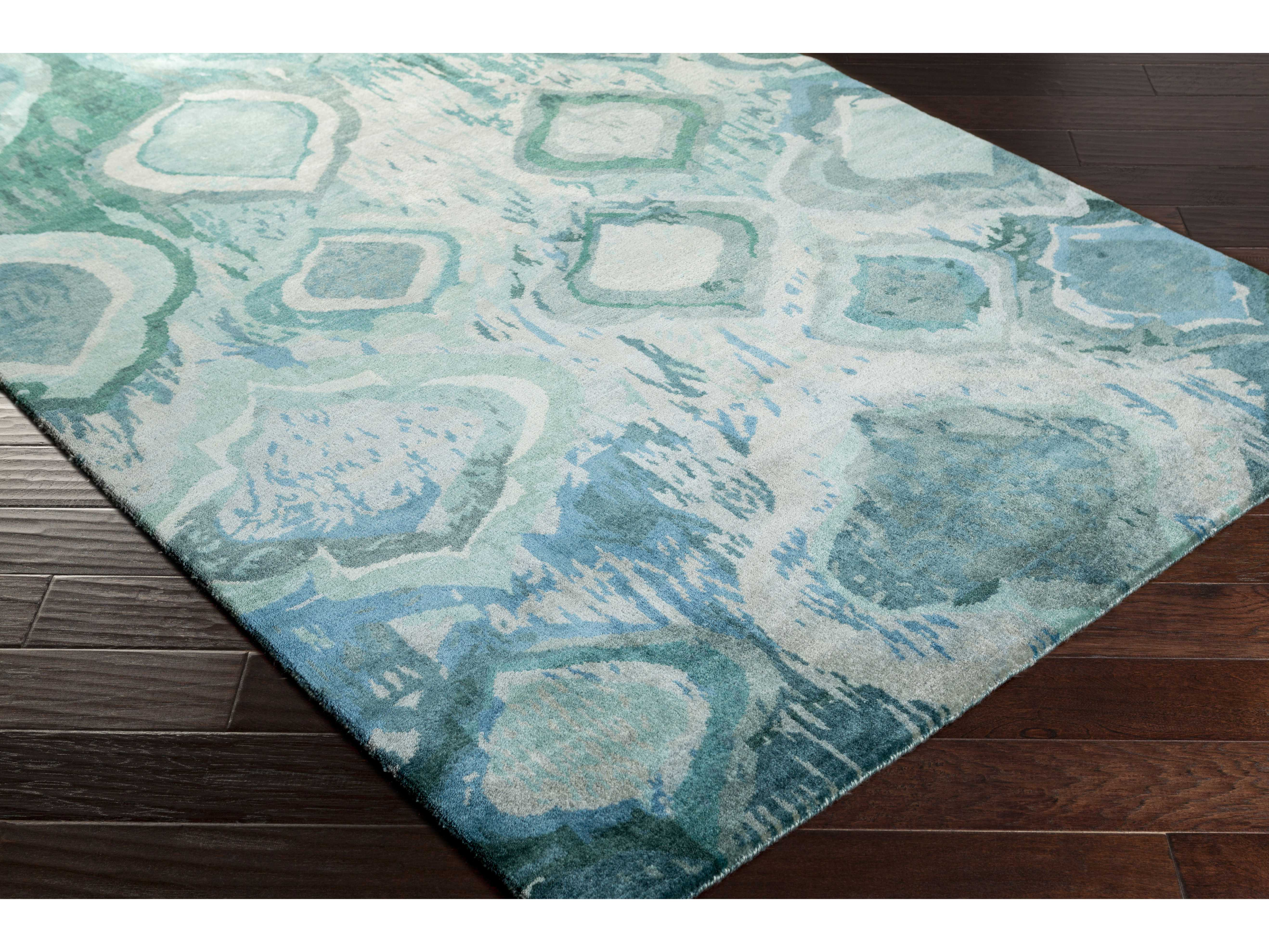 surya watercolor rectangular teal mint dark green area rug sywat5012rec. Black Bedroom Furniture Sets. Home Design Ideas