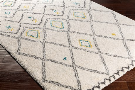 Surya Wilder Rectangular White, Charcoal & Mustard Area Rug